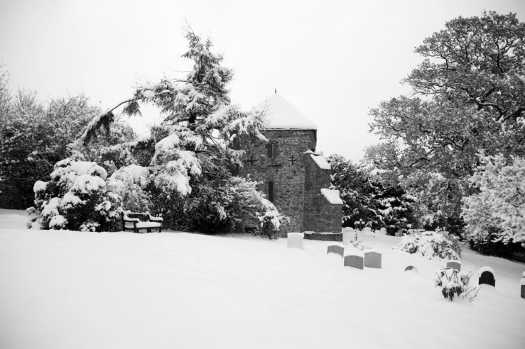 Bepton Church West Sussex in the snow