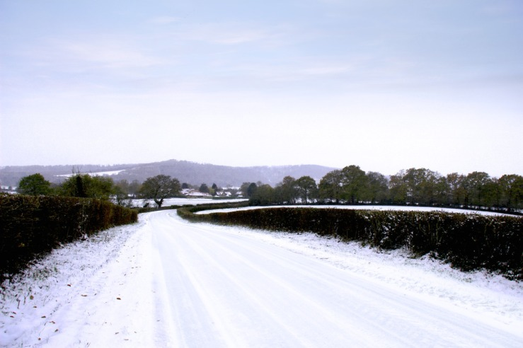 Bepton Road in the snow
