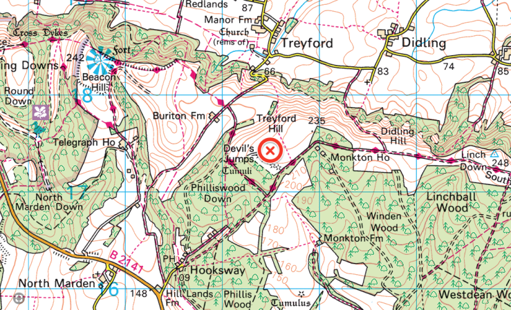 Map of the Devils Jumps Treyford