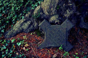 The broken headstone of John Elliott, 1897 at Treyford