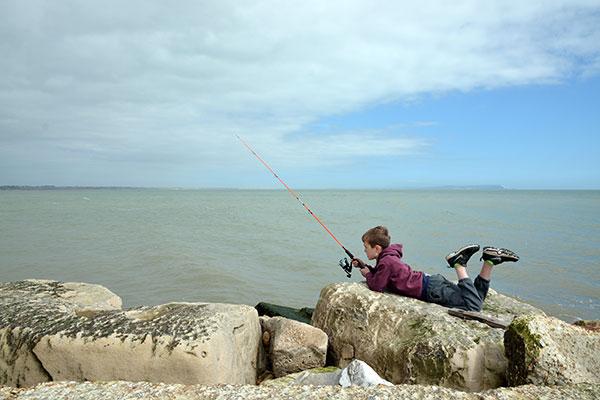 Fishing at Hengistbury Head Groyne