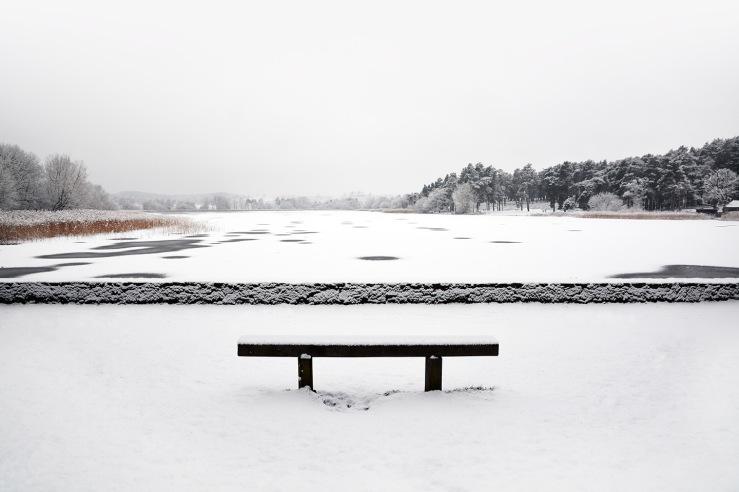 Snow on the water Frensham Little Pond Fb